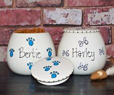 Small Personalised Hand Painted Ceramic whimsical Dog Cat Treat jar canister