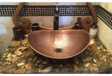 Solid Copper Oval Vessel Sink Countertop Bathroom Basin, Antique Hammered Finish