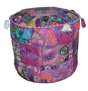 """Purple 22x22"""" Handmade Round Pouf Cover Indian Cotton Patchwork Home Decorative"""