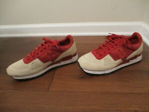 Lightly Used Worn Size 11.5 Saucony Shadow Original Shoes Red Clay, Beige, White