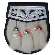 White Day Fur Sporran with 3 White Fur Tassels & Celtic Cantle S/Chain Belt