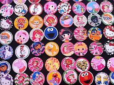 30pc MIXED Cartoons High Gloss Precut Bottle Cap Images Hair Bows Crafts Jewelry