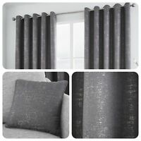 Curtina SOLENT Graphite - Metallic Jacquard Eyelet Curtains & Cushions