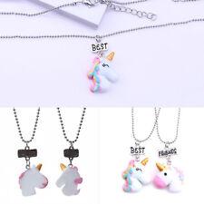 Kids Girl Unicorn Pendant Necklace Best Friend Friendship Ornament Chain Gift