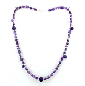 Necklace natural purple amethyst faceted beaded gemstone 925 sterling silver