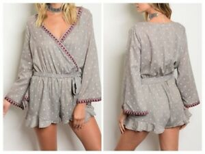 NWT M GRAY WHITE EMBROIDERED BELL SLEEVE FEATHER RUFFLE SURPLICE BOHO ROMPER