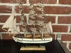 """Vintage Hand Crafted Wood Model Decor Nautical Sailboat """"CONSTITUTION"""""""
