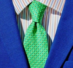 Turnbull & Asser Jade Green, Red, Blue, & White Dot Print All Silk Tie - England