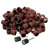 100pcs 1/2' Sanding Bands Sleeves + 2 Mandrels For Rotary Tools Kit