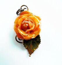 Mini real  orange rose pendant necklace