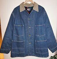 Vintage OshKosh Plaid Lined Denim Chore Work Barn Coat Jacket Mens Size 40R 90s