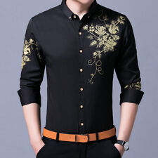 Men's Slim Fit Formal Shirts Long sleeve Nightclub Buttons Front Blouses Tops