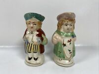Vintage Colonial Couple Salt and Pepper Shakers with Handles Made in Japan