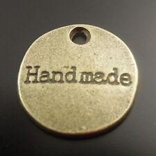 55X Antique Style Bronze Tone Alloy Round Pendant Charms 14*14*2mm