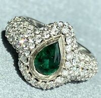 Pear-Cut Emerald Diamond 14K White Gold Vintage Ring 5.75