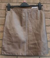 PAPAYA GOLD SILVER MIX FAUX LEATHER POCKETS SIDES PARTY A LINE MINI SKIRT 8 S