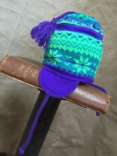 WOOL Girls NORDIC FAIR ISLE Sweater Knit Winter Hat TODDLER Ears CAPELLO CANADA