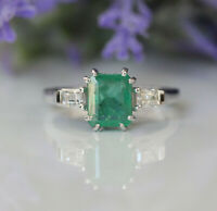 Gorgeous 14K White Gold 2.12 ct. Natural Green Emerald And Diamonds 3 Stone Ring