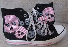 Converse All Star Hi Top Sneakers Black/Pink Skulls Design Mens 7 Women 9 1Z777