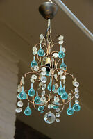 Mid century MURANO turquoise glass drops chandelier 1970 pendant light