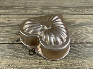 Vintage Rose Gold Copper Heart Jello Baking Mold Cookware