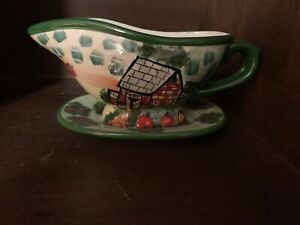 Vintage WCL Colorful Hand Painted Gravy Bowl With Attached Plate, Country Scene