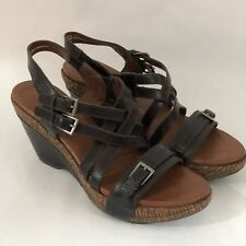 Naya Womens Sandals Wedge Maize Black Leather Straps Buckle Size 9 N Narrow