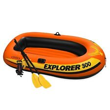 Intex Explorer 300, 3-Person Inflatable Boat Set with French Oars and High Outpu