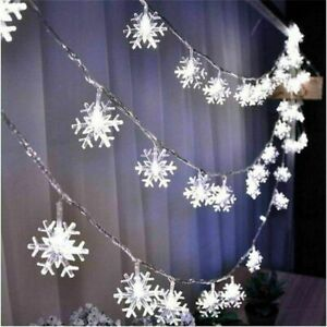 5M LED Solar Snowflake Curtain String Fairy Lights Christmas Outdoor Xmas Party