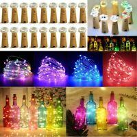 15-50 LEDs Wine Bottle Cork Fairy Lights Warm Cool White Multi-Color Xmas Party