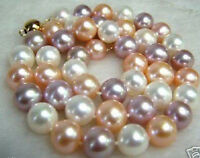 8mm South Sea Multicolor Shell Pearl Round Beads Necklace 18'' AAA