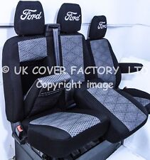 PREMIUM- FORD TRANSIT CUSTOM MK8 VAN SEAT COVERS 2012-2017 TAILROED GREY MATRIX