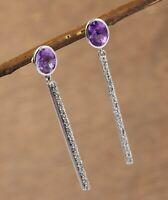 Solid 925 Sterling Silver Jewelry Amethyst Gemstone Women Gift Earring