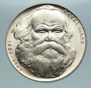 1983 CZECH REPUBLIC Czechoslovakia CARL KARL MARX Silver 100 Korun Coin i84714
