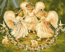 DIY Art Paint By Numbers Kit Canvas 50*40cm 8039 Three Angels in forest AU Stock