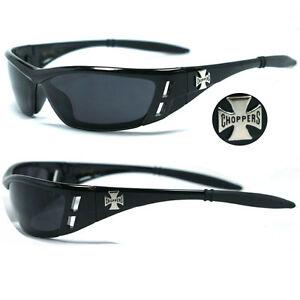 Choppers Biker Men Sunglasses w/ Free Pouch - Shiny Black Frame black Lens C46