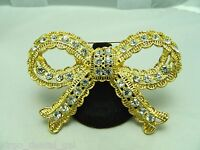 New Without Tags SWAROVSKI SWAN Large Gold Tone Clear Rhinestone Bow Pin Brooch