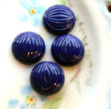 #164 Vintage Cabochons Cobalt Blue Czech Ribbed Texture NOS RARE Round 13mm