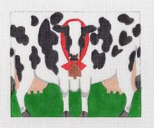 *NEW*  LIZ Black & White COW & Bell 3-D Roll up handpainted Needlepoint Ornament
