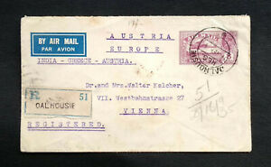 India 1935 KGV AIR LETTER REG POST UPRATED  TO AUSTRIA VIA LAHORE, GREECE
