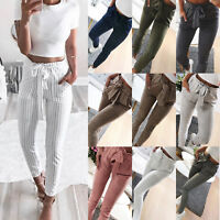 Womens High Waisted Paperbag Cigaratte Striped Trousers Tie Belted Harem Pants