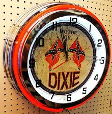 "18"" DIXIE Motor Oil Sign Double Neon Clock Gas Station Lube"
