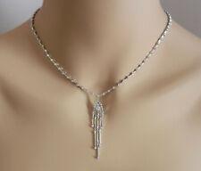 "Beautiful 14k White Gold Natural Diamonds Dangle Necklace Lariat 16.75"" lg"