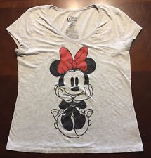 Junior Girls Minnie Mouse Disney Shirt XXL 2X Gray T-shirt Shirt Sleeve