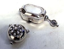 Pair of OMAN 925 Sterling Silver W/ Amethyst Stone Trinket Boxes - USED - T10