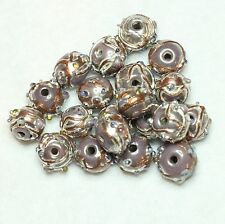 20 FANCY INDIAN LAMPWORK GLASS BEADS 8mm ROUND PALE PURPLE (BBB587)