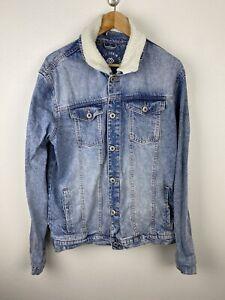 Jay Jays Mens Denim Jacket Size XL Sherpa Collar Blue Button Close Heavyweight
