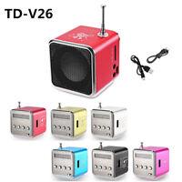 TD-V26 Mini Speaker Portable Micro SD/TF Music Player Digital LCD Sound FM Radio