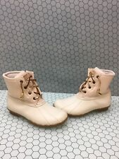 Sperry Top-Sider SALTWATER White Canvas/Rubber Lace Up/Zip Rain Boots Women's 7