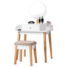 Wooden Vanity Makeup Dressing Table Stool Set Round Mirror W/1 Drawer
